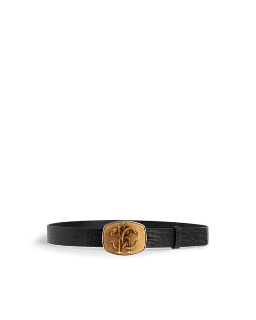 Roberto Cavalli Black Mirror Snake Belt for men