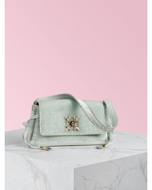 Roger Vivier Green Miss Vivier Strass Buckle Mini Bag