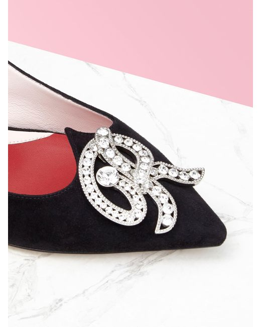 Roger Vivier Black Slingback Pumps I Love Vivier RV Jewel aus Veloursleder