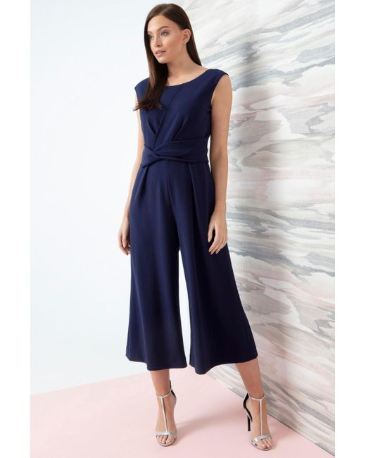 Roman Originals Blue Twist Front Culotte Jumpsuit