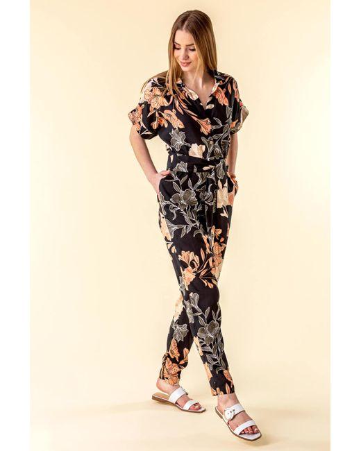 Roman Originals Black Belted Floral Print Jumpsuit