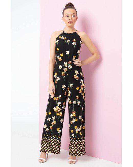 Roman Originals Black Floral Border Print Jumpsuit