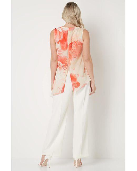 Roman Originals White Floral Chiffon Overlay Jumpsuit
