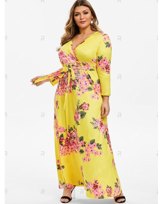 Women\'s Yellow Belted Floral Surplice Plus Size Maxi Dress