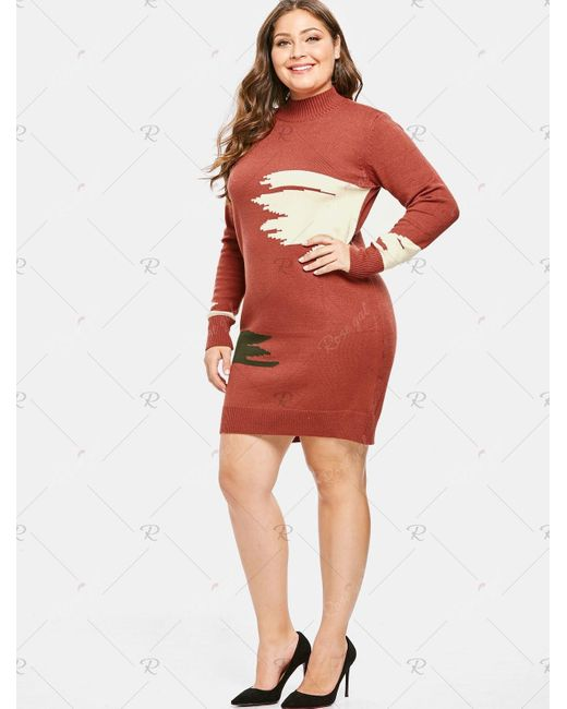 Women\'s Brown Plus Size High Neck Graphic Sweater Dress