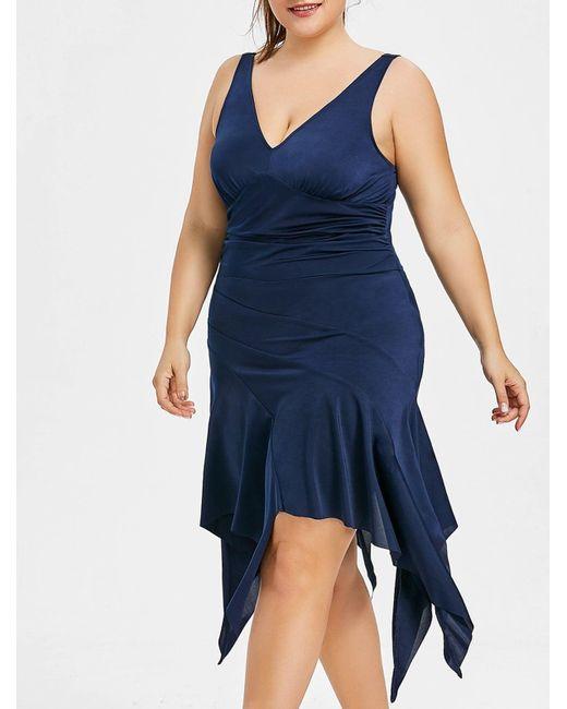Women\'s Blue Plus Size Plunging Neck Handkerchief Dress