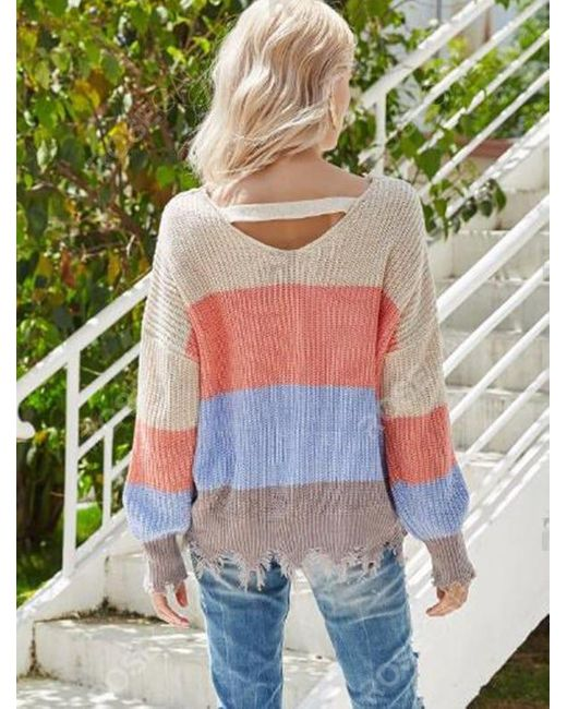 Rosegal Multicolor Colorblock V Neck Ripped Sweater