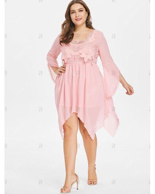 Women\'s Pink Plus Size Flared Long Sleeve Handkerchief Dress