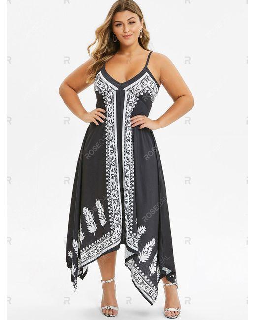 Women\'s Black Plus Size Spaghetti Strap Printed Dress