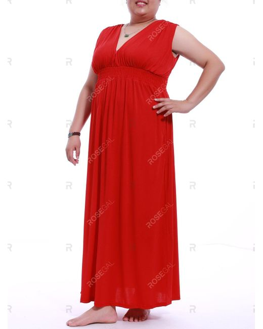 Women\'s Red Plus Size Empire Waist Maxi Dress