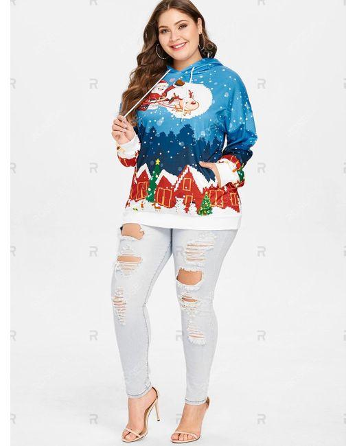 Women\'s Blue Plus Size House Santa Clause Christmas Hoodie