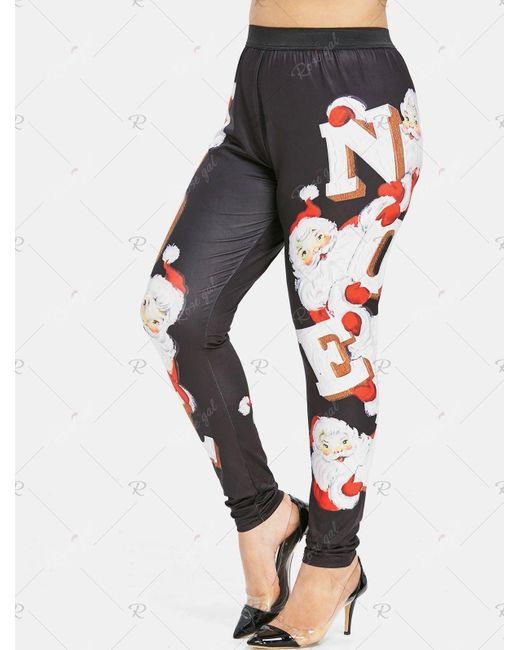 Plus Size Christmas Leggings.Women S Black Christmas Santa Claus Plus Size Leggings