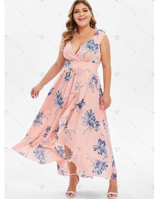 Women\'s Pink Plus Size Tie Shoulder High Low Floral Maxi Dress