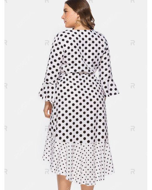 Women\'s White Belted Polka Dot Ruffles High Low Plus Size Dress
