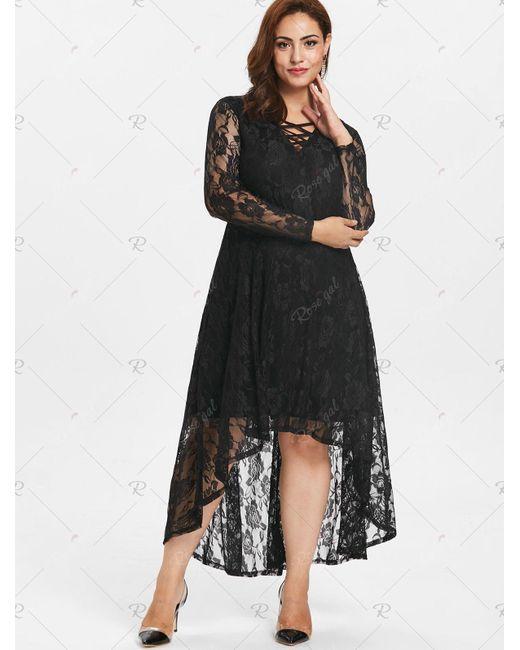 Women\'s Black Plus Size Lace High Low Dress