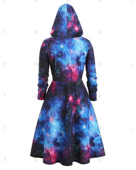 Plus Size Galaxy Print Hooded Long Sleeve Dress