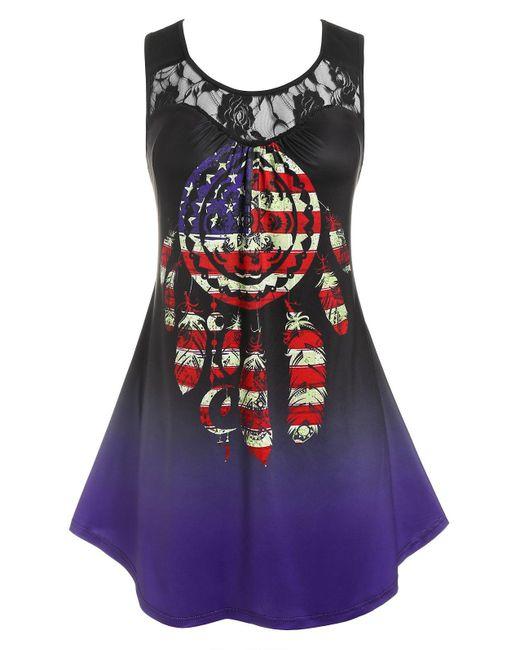 Rosegal Blue Plus Size Lace Panel American Flag Print Tank Top