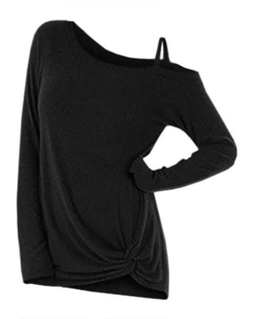 Rosegal Black Knotted Skew Neck Sweater