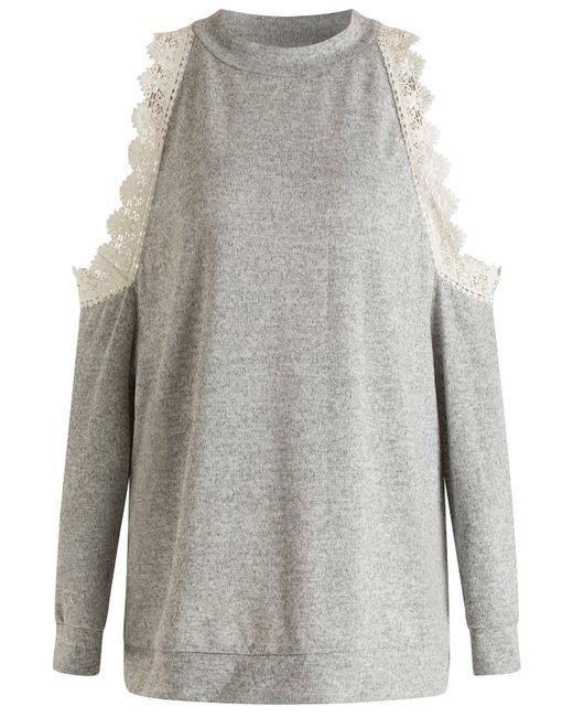 Rosegal Gray Plus Size Lace Splicing Cold Shoulder Sweatshirt