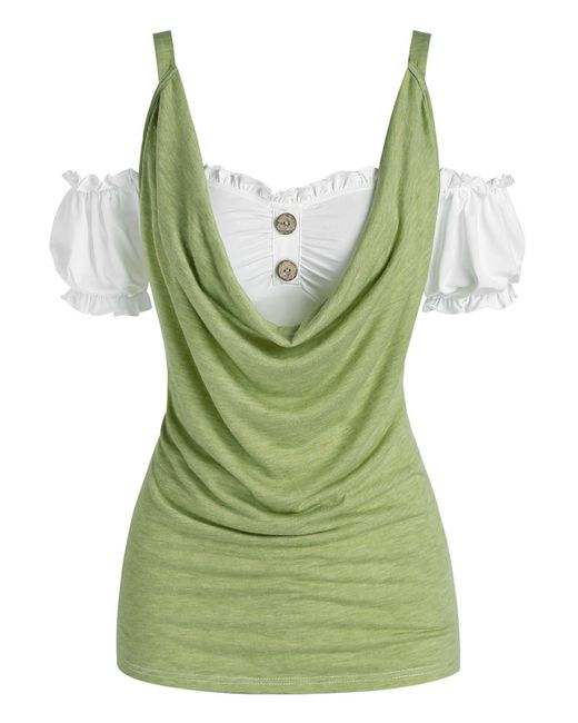 Rosegal Green Cold Shoulder Puff Sleeve Cowl Front Tee