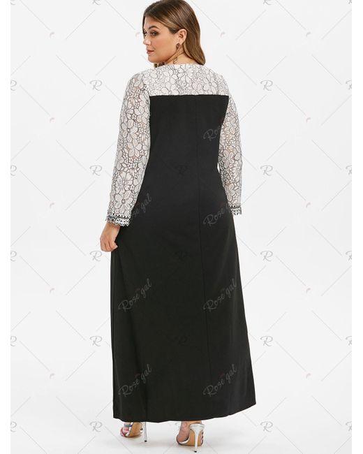 Women\'s Black Plus Size Long Sleeve Contrast Lace Maxi Dress