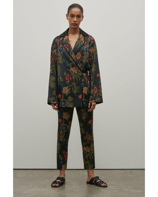 Rosetta Getty - Multicolor Floral Jacquard Cropped Skinny Trouser - Lyst