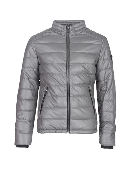 Guess Gray Stretch Pu Quilted Leather Jacket for men