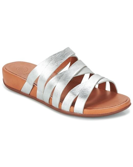 0afed0f68350 Fitflop - Metallic Lumy Slide Sandals - Lyst ...