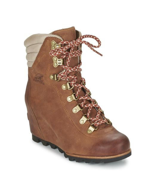 Sorel | Brown Conquest Wedge Low Ankle Boots | Lyst