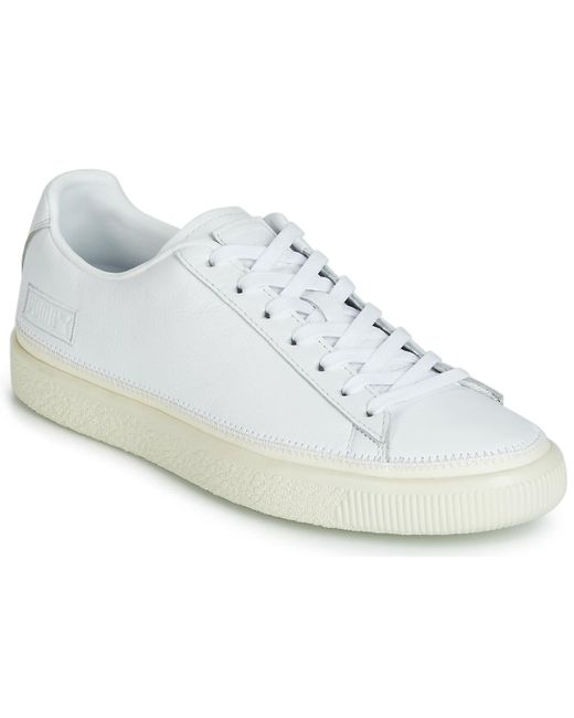 PUMA White Basket Stitched Shoes (trainers) for men
