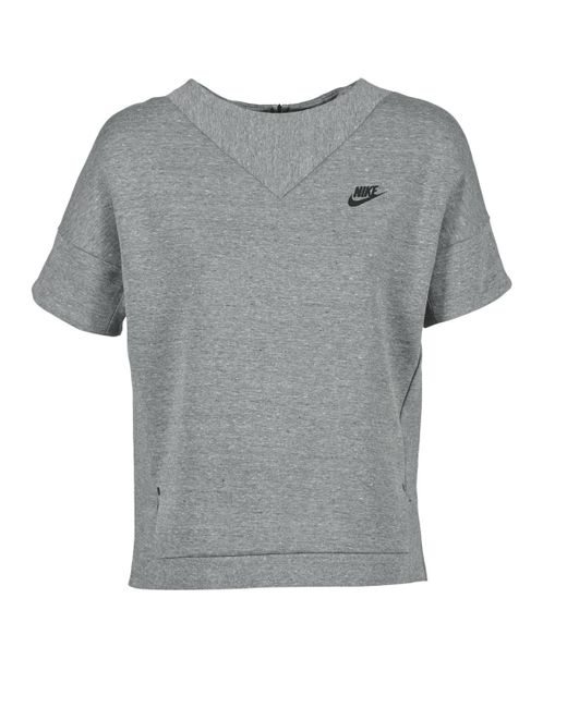 Nike Gray Tech Fleece Crew Women's Sweatshirt In Grey
