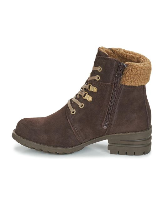 New Womens Caterpillar Tan Cora Fur Suede Boots Ankle Lace Up