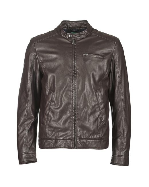 Benetton Brown Houlo Leather Jacket for men