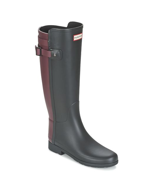 Hunter - Black Original Refined Back Strap Wellington Boots - Lyst