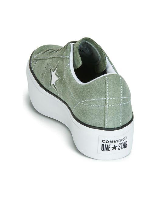 Women's Green One Star Platform Seasonal Colour Ox Shoes (trainers)