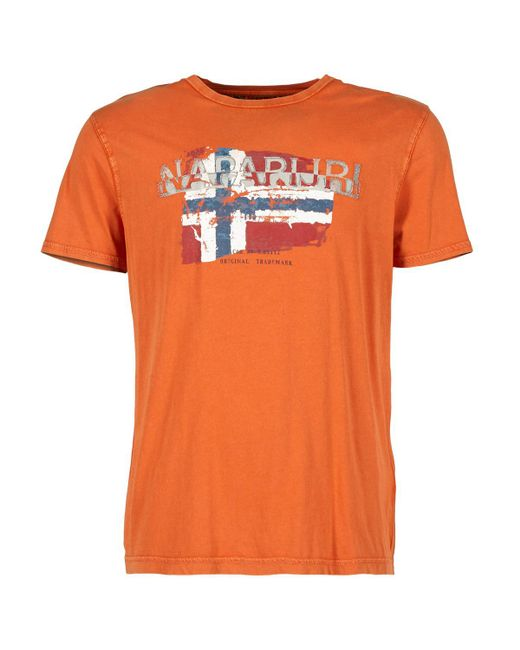 Napapijri - Orange Slood Crew T Shirt for Men - Lyst