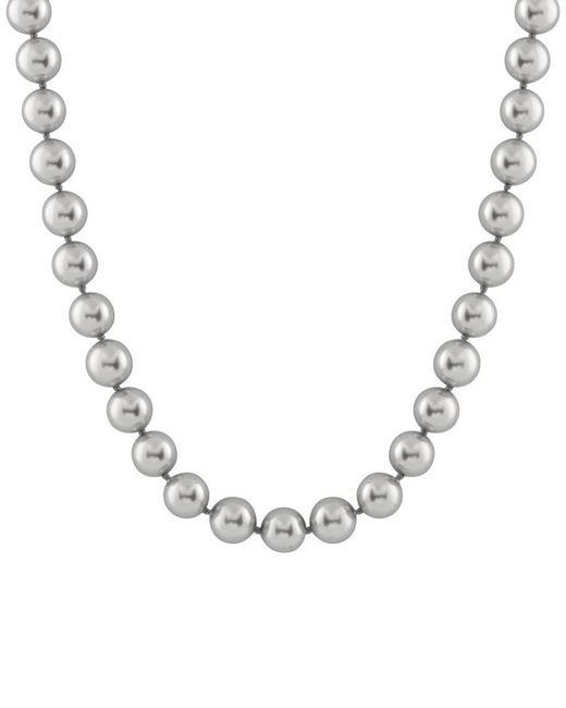 Splendid Metallic Rhodium Plated Silver 14-15mm Shell Pearl Necklace