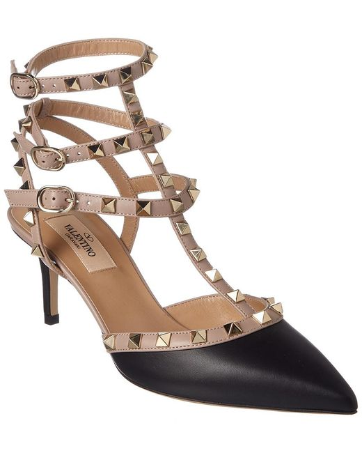 Valentino - Black Rockstud 65 Leather Ankle Strap Pump - Lyst
