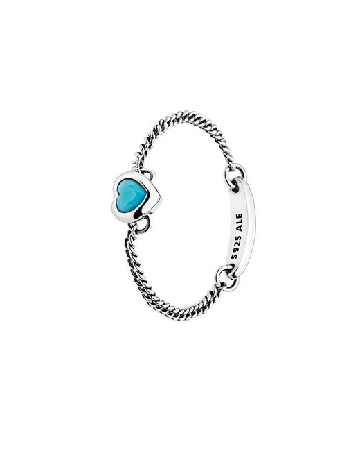 Pandora Silver & Cyan Blue Crystal Spirited Heart Ring