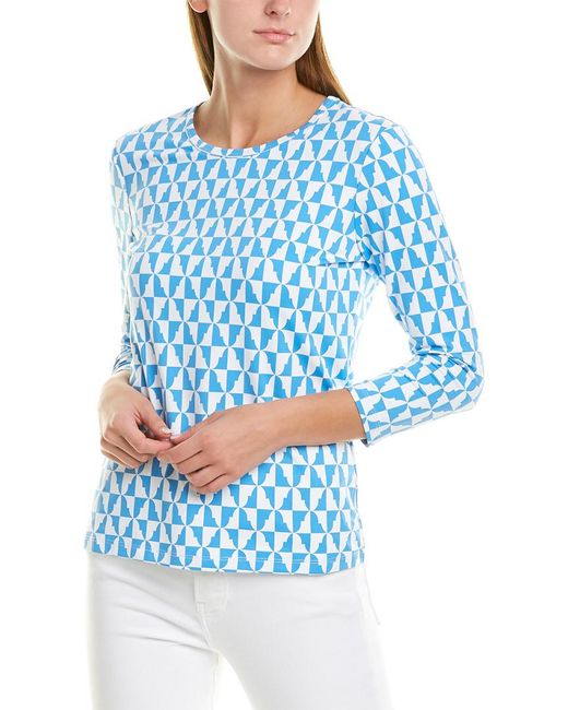 J.McLaughlin Blue Catalina Cloth Signature 3/4-sleeve Top