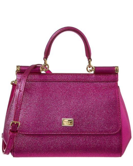 663d61c3d3 Dolce   Gabbana - Pink Mini Sicily Leather Satchel - Lyst ...
