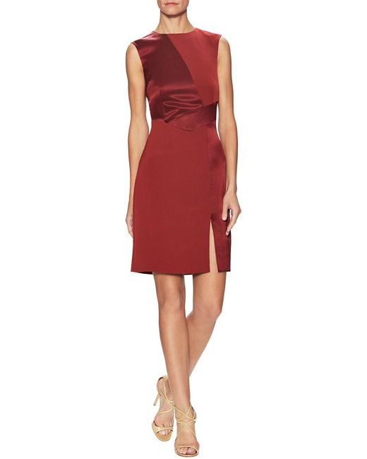 Pure Navy Red Asymmetric Front Panel Sheath Dress