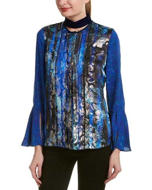 Elie Tahari Blue Silk-blend Top