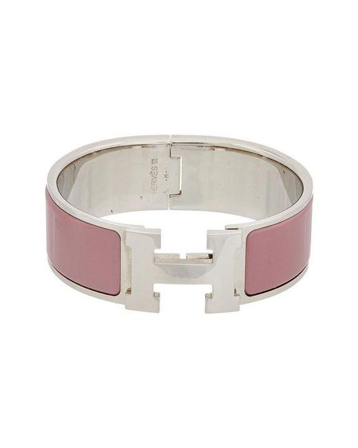 Hermès - Multicolor Purple Enamel Wide Clic-clac H Bracelet - Lyst