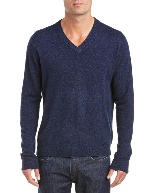 Qi - Blue Cashmere V-neck Sweater for Men - Lyst