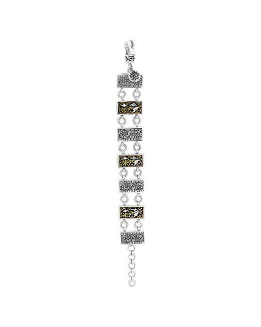 Lois Hill - Metallic Journey 24k & Silver Floral Bracelet - Lyst
