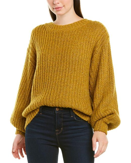 MILLY Yellow Sparkle Wool-blend Sweater