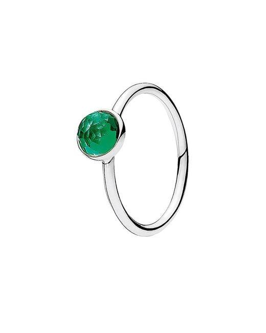 Pandora Green Silver & Crystal May Ring