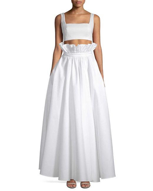 White Story White Two-piece Crop Top & Flared Skirt