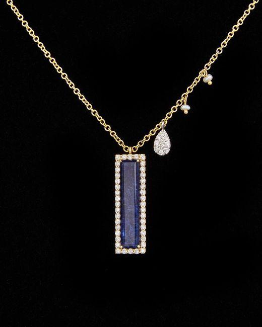 Meira T - Black 14k 3.15 Ct. Tw. Diamond & Lapis Necklace - Lyst